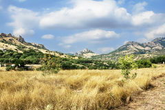 Crimea, extinct volcano Kara-Dag mountain reserve, Ukraine Royalty Free Stock Photography