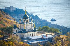 Crimea the foros Church on a cliff overlooking the sea.  royalty free stock image