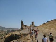 crimea Genoese fästning i Sudak Royaltyfria Foton
