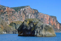 Crimea. Holy Rock of appearance of the icon of Saint George. In the Black Sea Stock Images