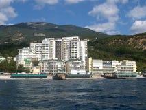 crimea Hotel op de kust van de Zwarte Zee dichtbij Yalta stock afbeelding