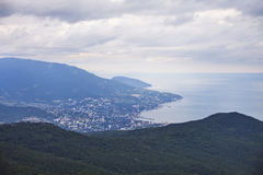 Crimea landscape. View of Yalta city from the Ai-Petri Mountain. View of Yalta city from the Ai-Petri Mountain. Crimea landscape Stock Photos