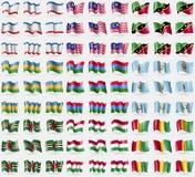 Crimea, Malaysia, Saint Kitts and Nevis, Karakalpakstan, Karelia, Guatemala, Dominica, Hungary, Guinea. Big set of 81 flags. Royalty Free Stock Photography