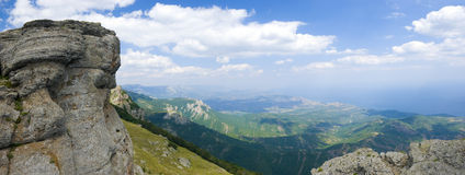 Crimea mountains. In july. Horisontal panoramic landscape Royalty Free Stock Images
