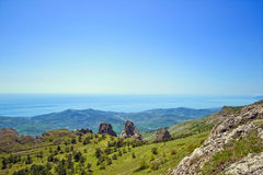 Crimea mountains and The Black Sea landscape Stock Photo