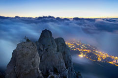 Crimea mountains. At foggy dawn Stock Images