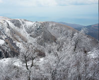 Crimea Mountains in winter Stock Photo