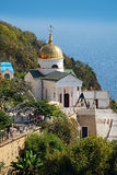 Crimea. Orthodox St. George Monastery from the Black Sea. Crimea. Orthodox Saint George Monastery on the mountain from the Black Sea Royalty Free Stock Image
