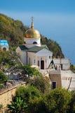 crimea OrtodoxSt George Monastery från Blacket Sea Royaltyfri Bild