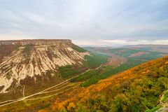 Crimea peninsula, autumn landscape - view of Table Mountain in B royalty free stock image