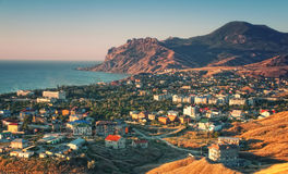 Crimea resort town with mountain and sea Royalty Free Stock Image