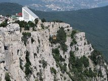 Crimea rocks and cable-way. Crimea rocks not far from Yalta and cable-way and Ai-Petri mountain Stock Image