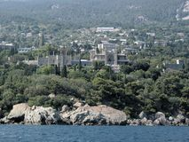Crimea rocks and Vorontsov palace. Crimea rocks not far from Yalta and Vorontsov palace Royalty Free Stock Image