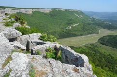 Crimea, ruins of the cave city Mangup Kale Royalty Free Stock Images