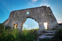 Crimea,  ruins citadel on top mountain Mangup Kale Royalty Free Stock Images