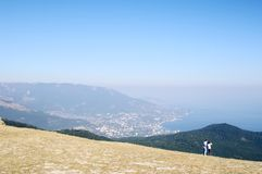 CRIMEA, RUSSIA -  OCTOBER 10, 2014: On top of  AI-Petri plateau,  view of Yalta coast , Crimea. Stock Photography