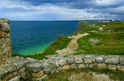 Crimea, Russia, Tavrida, Herosnes, ancient city, sea, rye Royalty Free Stock Photos