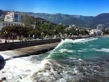 Crimea's beach of the Black Sea Stock Images