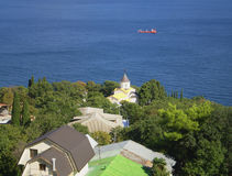 Crimea. Sea. View of the Black sea from the Imperial track (Crimea Stock Photo