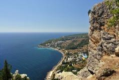 Crimea Southern coast, Ukraine. Crimea Southern coast , the view of Katsiveli settlement and Kikeneiz cape, Ukraine Royalty Free Stock Photo