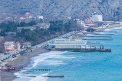 Crimea, Sudak bay. View of the city of Sudak, mountains and the Black Sea stock image