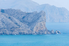 Crimea, Sudak bay. View of the coast of Sudak and the Black Sea stock photography