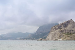 Crimea, Sudak. View from seacoast to Novy Svet Village. Beautiful mountains. Stock Images