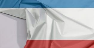 Crimea tkaniny flaga zagniecenie z biel przestrzenią i krepa obrazy royalty free