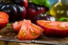 Crimea tomatoes halves for fresh salad stock image