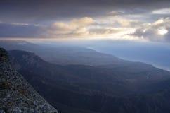 Crimea, Ukraine. Clouds on the mountain. Crimea, Ukraine stock photo
