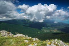 Crimea valley with white clouds stock image