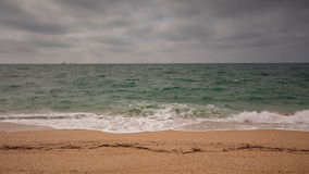 Crimea video, sea surf on the beach coast of the Black Sea in cloudy weather. stock video
