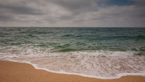 Crimea video, sea surf on the beach coast of the Black Sea in cloudy weather. stock video footage