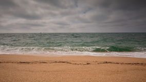 Crimea video, sea surf on the beach coast of the Black Sea in cloudy weather. stock footage