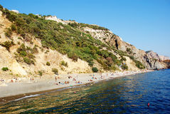 Crimea. View of Jasper Beach from the Black Sea. On a sunny day Stock Images