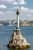 Crimea. View of the monument to the flooded ships in Sevastopol. Crimea, Sevastopol. View of the monument to the flooded ships from Nakhimov Square Royalty Free Stock Photo