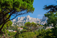 Crimea, view of Mount Ai-Petri. Summer day view  of Mount Ai-Petr rom Vorontsov gardeni, Crimea Royalty Free Stock Image