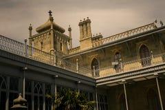 Crimea Vorontsov Palace Balcony Gallery Stone Tower. Crimea Vorontsov palace balcony gallery with metal railing and stone tower stock photos