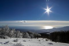 Crimea in the winter. Once in the January in the Crimnea Russia.Sea, mountains and beauty of the Crimea. On the Way to peak eklizi burun royalty free stock images