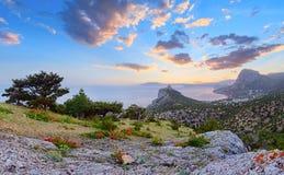 Crimea wschodu słońca linii brzegowej krajobraz Zdjęcie Stock