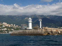 Crimea, Yalta. View of a beacon and Black Sea coast Stock Photo