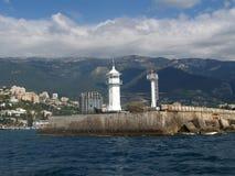 Crimea, Yalta. View of a beacon and Black Sea coast Stock Photo