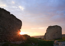 Crimean ancient fortress sunset view (Ukraine) Royalty Free Stock Images
