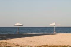 Crimean beach. Sunny beach in the Crimea, sea view, 2012 Stock Photos