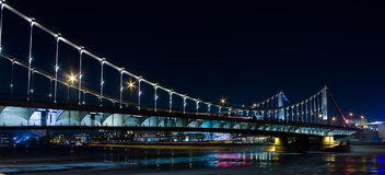 The Crimean bridge. Night streets. A city. Winter. Lanterns Royalty Free Stock Image