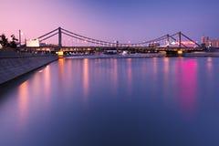 Crimean bridge. Night sight of Crimean bridge at Moscow Stock Photo