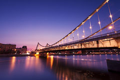 Crimean bridge. Night sight of Crimean bridge at Moscow Stock Photography
