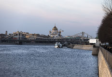 Crimean Bridge and Cathedral of Christ the Savior Stock Photography