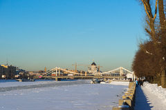 Crimean bridge and cathedral of Christ the Savior in winter Stock Image