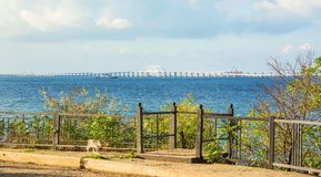 Crimean bridge. On the Black Sea and the Sea of Azov through the Kerch Strait stock photography
